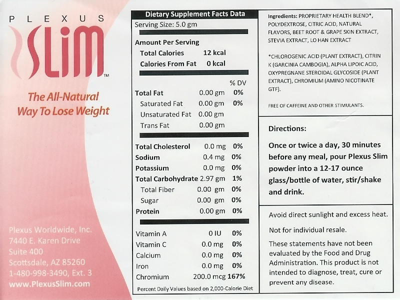 Plexus Slim Ingredient Label